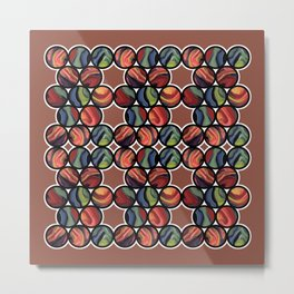 Colorful paint glass balls geometric circles pattern with dark red background Metal Print
