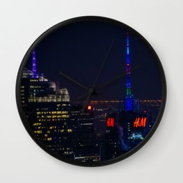 NYC Colored Lights Wall Clock