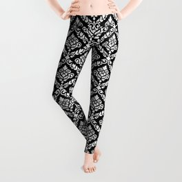 Prima Damask Pattern White on Black Leggings