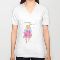 rubyetc V-neck T-shirts featuring princess sarcasmo by rubyetc