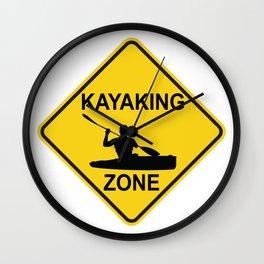 Kayaking Zone Road Sign Wall Clock