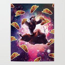 Cowboy Space Sloth On Wildebeest Unicorn - Taco Poster