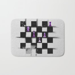 Chessboard and Amethyst  Chess Pieces composition Bath Mat
