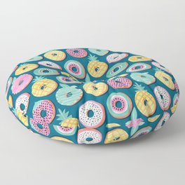 Undercover donuts // turquoise background pastel colors fruit donuts Floor Pillow