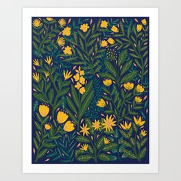 Golden flowers Art Print
