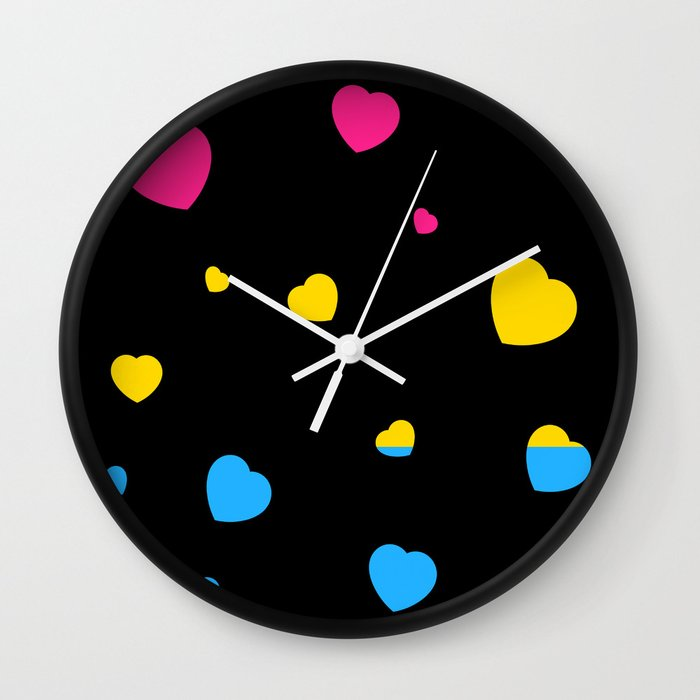 Chaotic Hearts, Pride Flag Series: Pansexual Wall Clock
