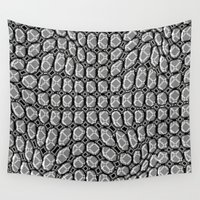 gray pattern Wall Tapestries featuring Gray Pepples Pattern by Pia Schneider [atelier COLOUR-VISION]