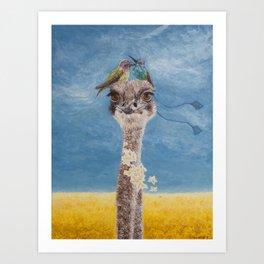 Olivia: My Dainty Ostrich Art Print