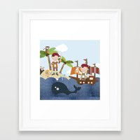 pirates Framed Art Prints featuring pirates by elisapesteguia