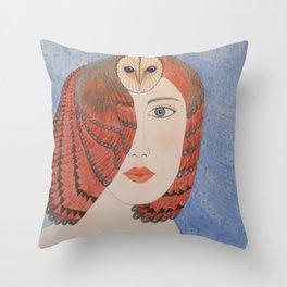Owl Lady Throw Pillow
