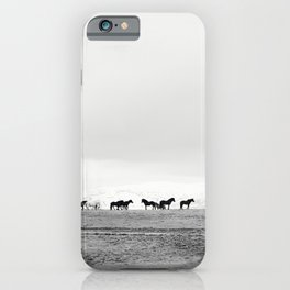Black and White Horses in Landscape Photograph, Iceland iPhone Case