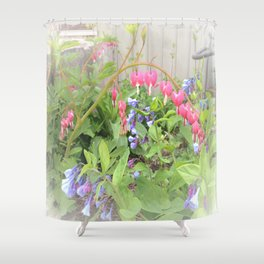 Floral Fantasy Bleeding Hearts and Bluebells Shower Curtain