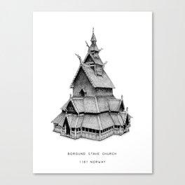 Borgund Starve Church, 1181 Norway Canvas Print