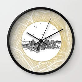 Los Angeles, California City Skyline Illustration Drawing Wall Clock