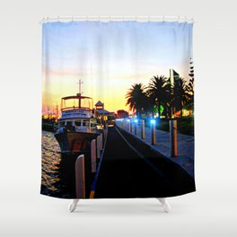 Night falls over lake Entrance Shower Curtain