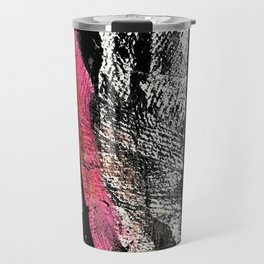 Motivation [2] : a colorful, vibrant abstract piece in pink red, gold, black and white Travel Mug