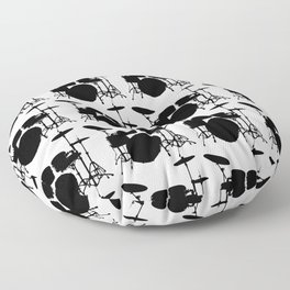 Drumset Pattern (Black on White) Floor Pillow
