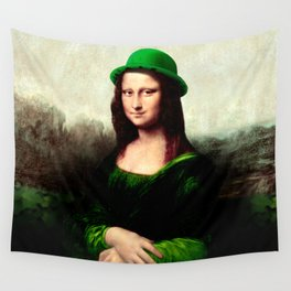 Lucky Mona Lisa - St Patrick's Day Wall Tapestry