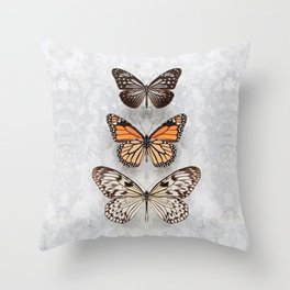 Three Speckled Butterflies Throw Pillow