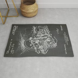 1918 C. J. Gustafson Motorcycle with Side Car Black Patent Version Rug