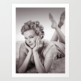 """Curlers Before Bed"" - The Playful Pinup - Lounging in Lace Pin-up Girl by Maxwell H. Johnson Art Print"