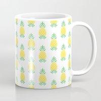 pineapple Mugs featuring Pineapple by Jacqueline Maldonado