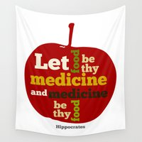 medicine Wall Tapestries featuring Apple Let food be thy medicine and medicine be thy food. by mailboxdisco