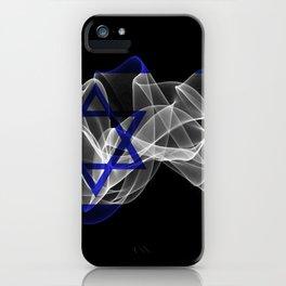 Israel Smoke Flag on Black Background, Israel flag iPhone Case