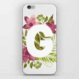 Monogram G with red waercolor flowers and green leaves. Floral letter G. Botanical illustration. iPhone Skin