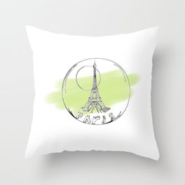 paris in a glass ball . green pastel colors Throw Pillow