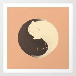 Hidden cat 9 Yin Yang kitty Art Print
