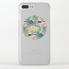 Lazy Afternoon - a chalk pastel illustration pattern Clear iPhone Case