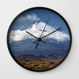 Klyuchevskoy Volcano or Klyuchevskaya Sopka on Kamchatka - highest active volcano of Eurasia Wall Clock