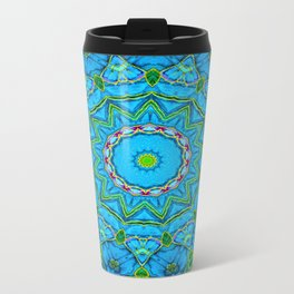 Lovely Healing Mandalas in Brilliant Colors: Blue, Green, Yellow, and Pink Metal Travel Mug