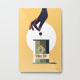 Olive oil vintage poster greece Metal Print