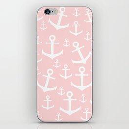 White & blush pink anchor pattern iPhone Skin