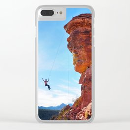 Rock Climber Swinging at Red Rock Canyon Clear iPhone Case