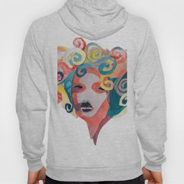 Watercolor Collage of Girl with Curly Hair Hoody