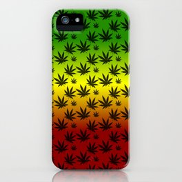 Rasta Cannabis Weed Leaf Pattern iPhone Case