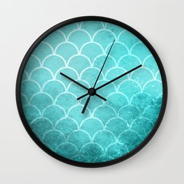 Grunge textured large scallops in limpet blue Wall Clock