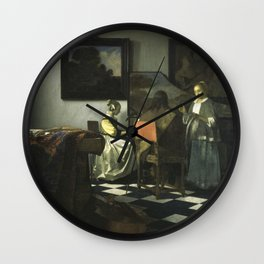 Stolen Art - The Concert by Johannes Vermeer Wall Clock