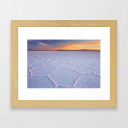 II - Salt flat Salar de Uyuni in Bolivia at sunrise Framed Art Print