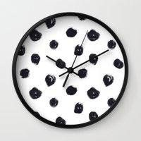polka dot Wall Clocks featuring POLKA DOT by Maria Parsons