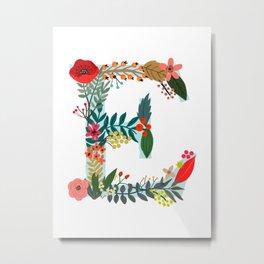 Monogram E Floral letter Metal Print