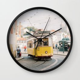 Yellow Tram in Lisbon | Portugal Streetcar Travel Photography | Europe Trolley Wall Clock
