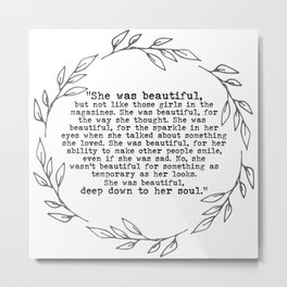 """She was beautiful"" quote from F. Scott Fitzgerald Metal Print"