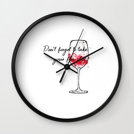 Don't Forget To Take Your Flu Shot Wine Glass Wall Clock