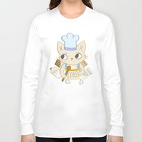 baking Long Sleeve T-shirts featuring Cat is baking a Cake by Camart