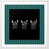 Three black Cats on Plaid Background Art Print
