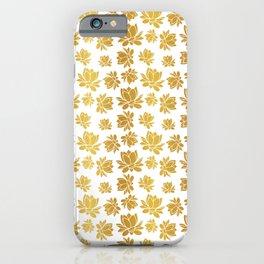 Golden lotus flower pattern on white background iPhone Case